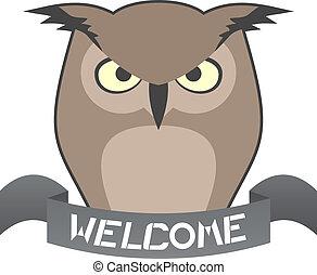 coruja, bem-vindo