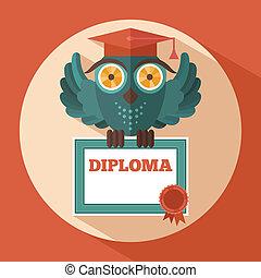 coruja, boné, graduação