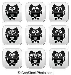 coruja, botão, vetorial, personagem, caricatura