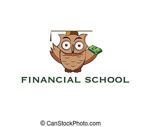 coruja, caricatura, pilha, dinheiro