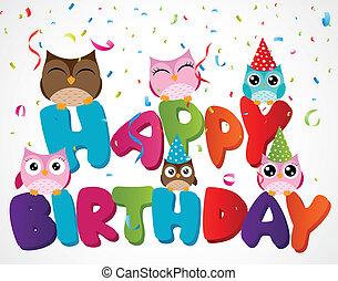 coruja, cartão aniversário, feliz