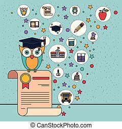 coruja, certificado, ícones, cor, elemento, fundo, faíscas, educação