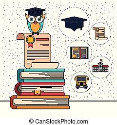 coruja, certificado, ícones, cor, elemento, livros, fundo, faíscas, educação, pilha