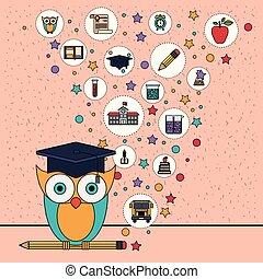 coruja, cor lápis, ícones, elemento, fundo, faíscas, educação