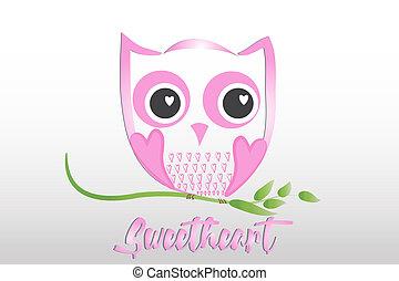 coruja, de, amor, logotipo, vetorial, desenho