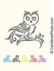 coruja, decoração, pássaro