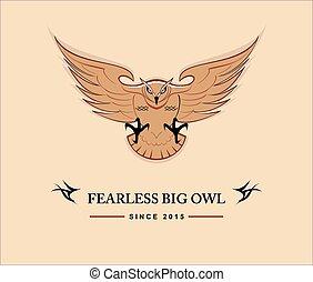 coruja, destemido, owl., grande