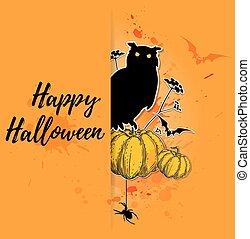 coruja, dia das bruxas, cartão, abóbora