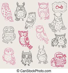 coruja, doodle, -, cobrança, mão, vetorial, vário, desenhado