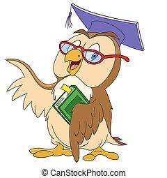 coruja, educado, caricatura