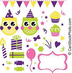 coruja, elementos, isolado, aniversário, desenho, partido, branca