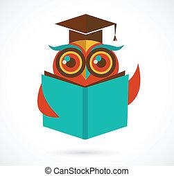 coruja, escola, costas, boné graduação, livro, ilustração
