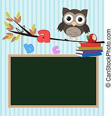 coruja, escola, costas