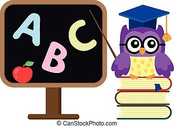 coruja, escola, imagem, stylized, tema, 1