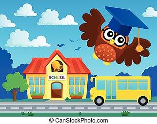 coruja, escola, imagem, stylized, tema, 2