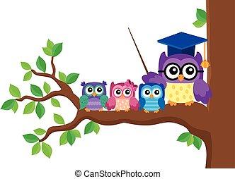 coruja, escola, imagem, stylized, tema, 5
