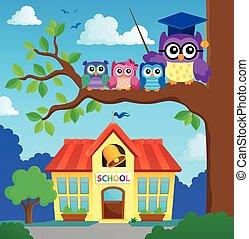 coruja, escola, imagem, stylized, tema, 7