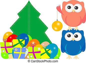 coruja, família, saudação, feliz natal, cartão