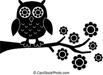 coruja, flores, pretas