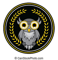 coruja, grinalda, mascote