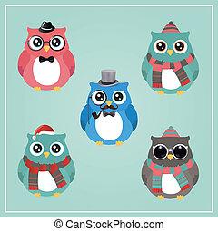 coruja, hipster, inverno, ilustração