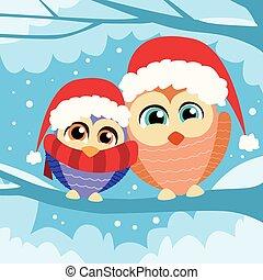 coruja, inverno, sentando, filial árvore, natal