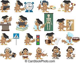 coruja, jogo, teacher., grande, caricatura, pássaro