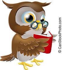 coruja, leitura, caricatura, livro