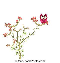 coruja, ligado, um, brunch, com, flores
