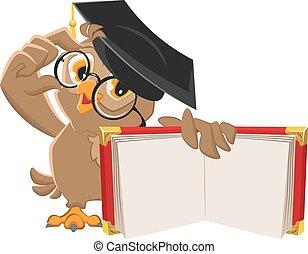coruja, livro, abertos, segurando