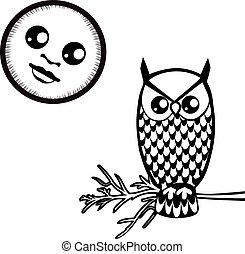 coruja, lua