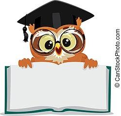 coruja, mostrando, um, abertos, vazio, livro