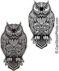 coruja, pássaro, tatuagem