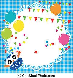 coruja, partido aniversário, cartão, cute