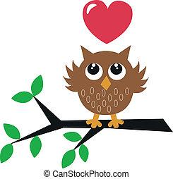 coruja, pequeno, doce, amor, marrom