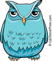 coruja, personagem, pássaro, caricatura