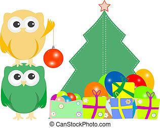 coruja, presente, árvore familiar, caixas, bolas, balões, natal