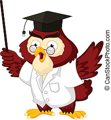 coruja, professor, caricatura