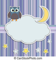 coruja, quadro, estrelas, lua