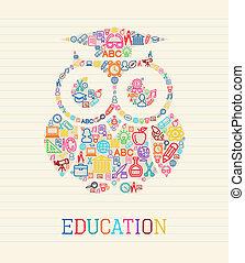 coruja, sabedoria, conceito, educação, illust