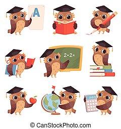 coruja, school., cobrança, escrita, corujas, caráteres, ensinando, caricatura, leitura, pássaros, professor