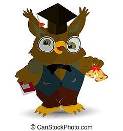 coruja, segurando, sino, personagem, livro, texto, homem, fundo, colete branco, professor, caricatura