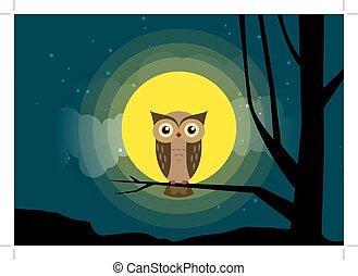 coruja, sentando, ligado, um, filial árvore, fundo, de, a, luar