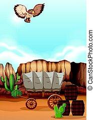 coruja, sobre, voando, deserto, vagão