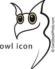 coruja, vetorial, esboço, ilustração