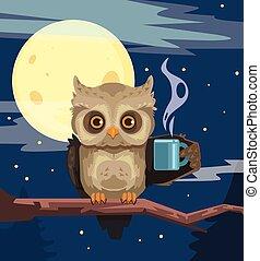 coruja, xícara café