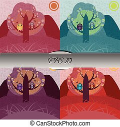 corujas, árvore, jogo, amor, sentando