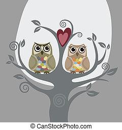 corujas, amor, dois, árvore