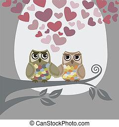 corujas, amor, dois, ar