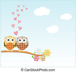 corujas, amor, fundo, ramo, sentando